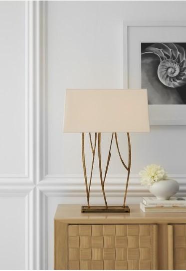 Aspen Console Lamp in Gilded Iron with Natural Paper Shade