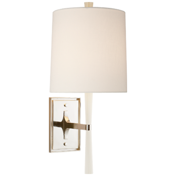 Refined Rib Sconce in Ebony Resin and Soft Brass with Silk Shade