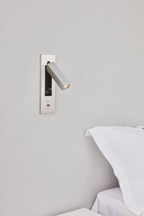 Dida Square Recessed Wall Lamp + Switch + USB