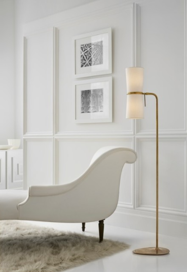 Clarkson Floor Lamp in Hand-Rubbed Antique Brass with Linen Shade