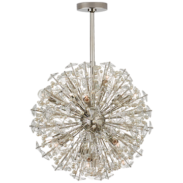 Dickinson Medium Pendant in Soft Brass with Clear Glass and Cream Pearls
