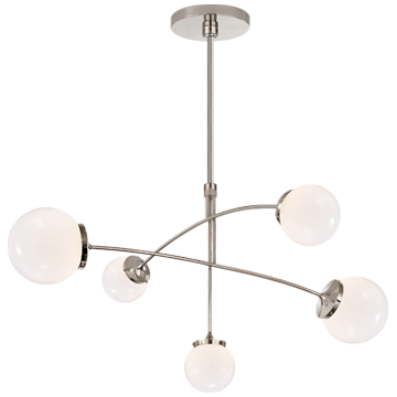 Prescott Medium Mobile Chandelier in Polished Nickel with Clear Glass