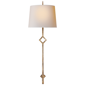 Cranston Small Sconce in Gilded Iron with Natural Paper Shade