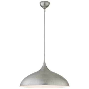 Agnes Large Pendant in Burnished Silver Leaf with White Interior