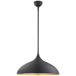 Agnes Large Pendant in Matte Black with Gild Interior