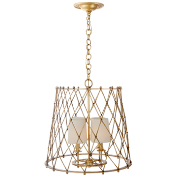 Edgerly Hanging Shade In Gilded With Linen Shades Eunice Taylor Ltd