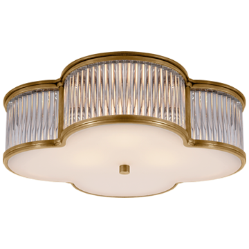 "Basil 17"" Flush Mount in Natural Brass and Clear Glass Rods with Frosted Glass"