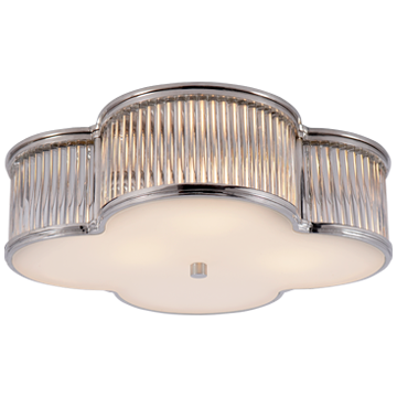 "Basil 17"" Flush Mount in Polished Nickel and Clear Glass Rods with Frosted Glass"