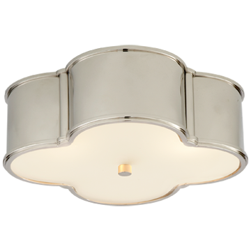 Basil Large Flush Mount in Polished Nickel with Frosted Glass