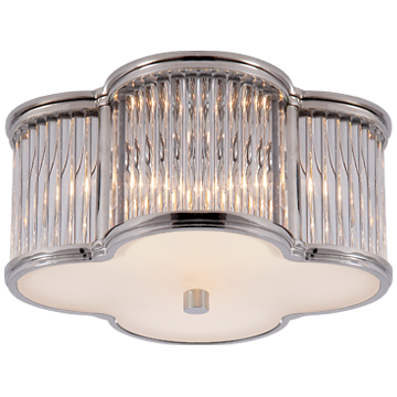 Basil Small Flush Mount in Polished Nickel and Clear Glass Rods with Frosted Glass
