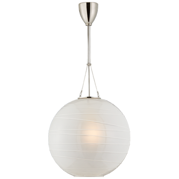 Hailey Medium Round Pendant in Polished Nickel with Frosted Glass