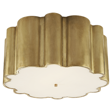 Markos Flush Mount in Natural Brass with Frosted Acrylic