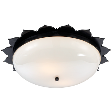 Rachel Large Flush Mount in Gun Metal with White Glass