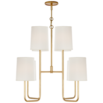 Go Lightly Medium Chandelier in Gilded with Silk Shades