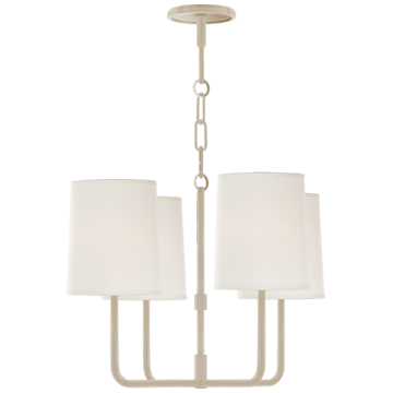 Go Lightly Small Chandelier in China White with Silk Shades