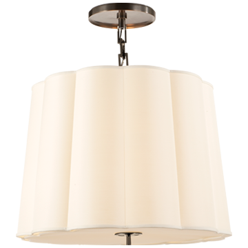 Simple Scallop Chandelier in Bronze with Silk Shade