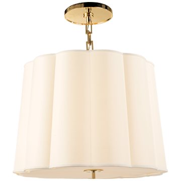Simple Scallop Chandelier in Soft Brass with Silk Shade