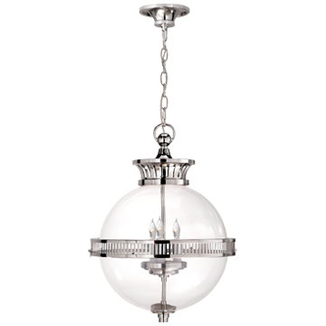 Alderly Globe Lantern in Polished Nickel with Clear Glass
