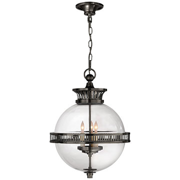 Alderly Globe Pendant in Bronze with Clear Glass