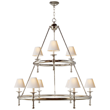 Classic Two-Tier Ring Chandelier in Polished Nickel with Natural Paper Shades