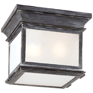 Club Small Square Flush Mount in Weathered Zinc with Frosted Glass