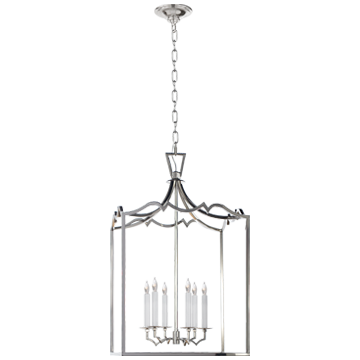 Darlana Large Fancy Lantern in Polished Nickel