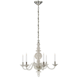 George II Large Chandelier in Quartz with Polished Silver