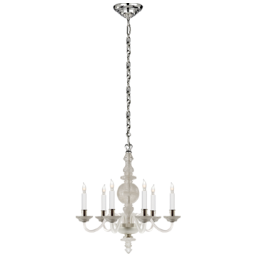 George II Small Chandelier in Quartz with Polished Silver