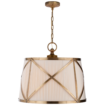 Grosvenor Large Single Pendant in Antique-Burnished Brass with Linen Shade