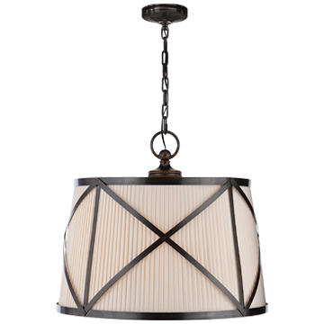 Grosvenor Large Single Pendant in Bronze with Linen Shade
