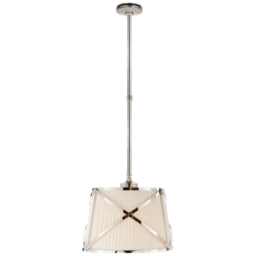 Grosvenor Single Pendant in Polished Nickel with Linen Shade