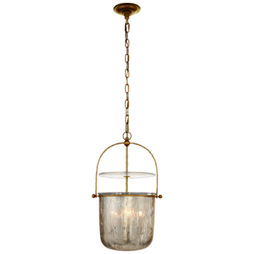 Lorford Small Smoke Bell Lantern in Gilded Iron with Antiqued Mercury Glass