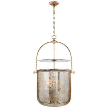Lorford Smoke Bell Lantern in Gilded Iron with Mercury Glass