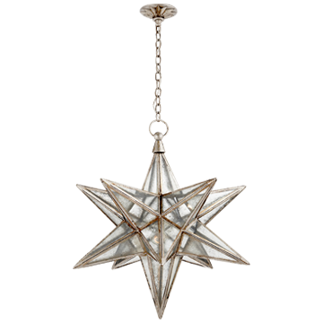 Moravian Large Star in Burnished Silver Leaf with Antique Mirror