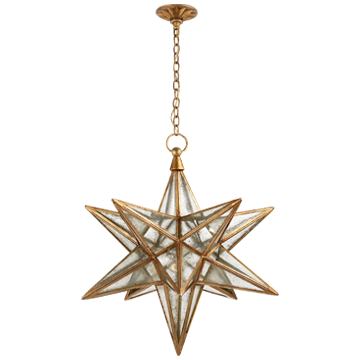 Moravian Large Star in Gilded Iron with Antique Mirror
