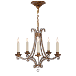 Oslo Mini Chandelier in Gilded Iron and Crystal