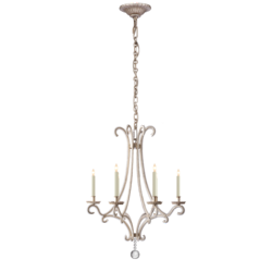 Oslo Small Chandelier in Burnished Silver Leaf with Crystal