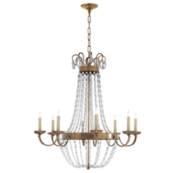 Paris Flea Market Large Chandelier in Antique-Burnished Brass with Seeded Glass