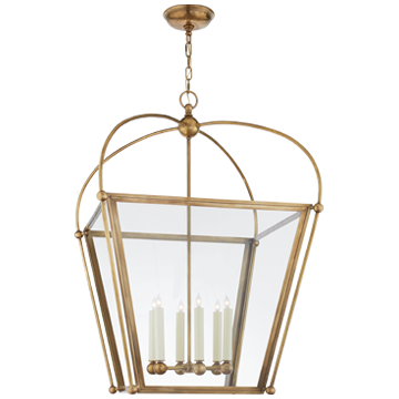 Plantation Large Lantern in Antique-Burnished Brass with Clear Glass