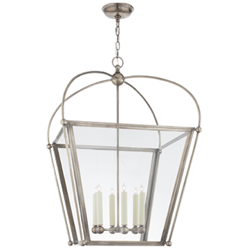Plantation Large Lantern in Antique Nickel with Clear Glass