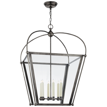 Plantation Large Lantern in Bronze with Clear Glass