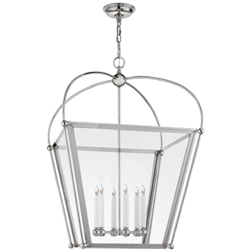 Plantation Large Lantern in Polished Nickel with Clear Glass