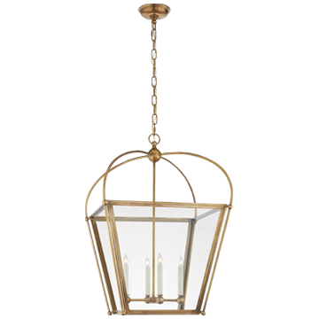 Plantation Medium Lantern in Antique-Burnished Brass with Clear Glass