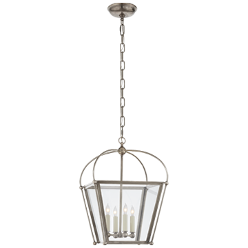 Plantation Small Lantern in Antique Nickel with Clear Glass