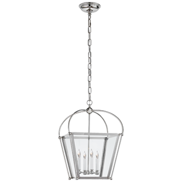 Plantation Small Lantern in Polished Nickel with Clear Glass