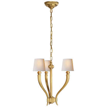 Ruhlmann Small Chandelier in Antique-Burnished Brass with Natural Paper Shades