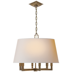 Square Tube Hanging Shade in Hand-Rubbed Antique Brass with Natural Paper Shade