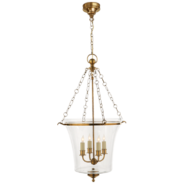 Sussex Medium Bell Jar Lantern in Antique-Burnished Brass