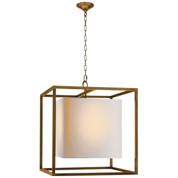 Caged Medium Lantern in Hand-Rubbed Antique Brass with Natural Paper Shade