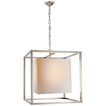 Caged Medium Lantern in Polished Nickel with Natural Paper Shade